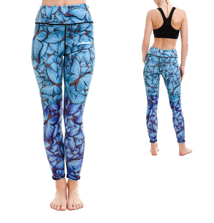 Ladies' Elastic Sport Leggings - Blue Butterflies