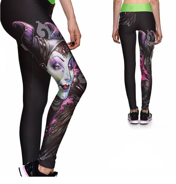 Női sportos elasztikus leggings Sötét tündér