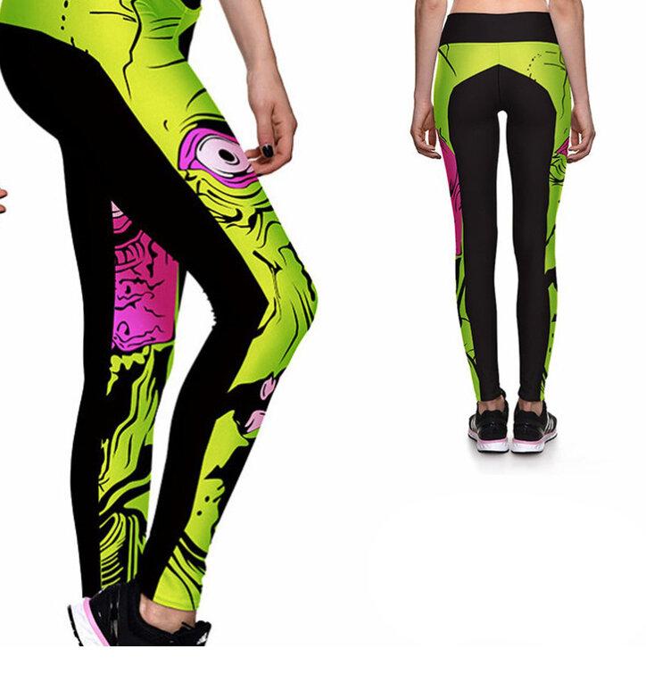 Damen Sport Leggings Elastisch Zombie
