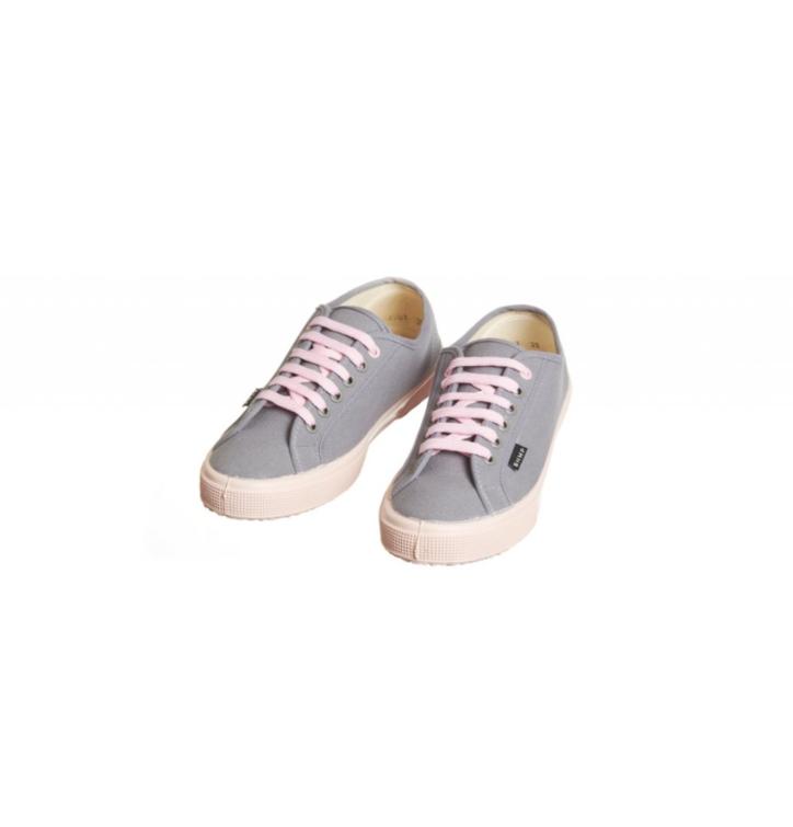 on sale 6431d 4dd8f Damen vegane Turnschuhe grau mit rosa Sohle   Dedoles