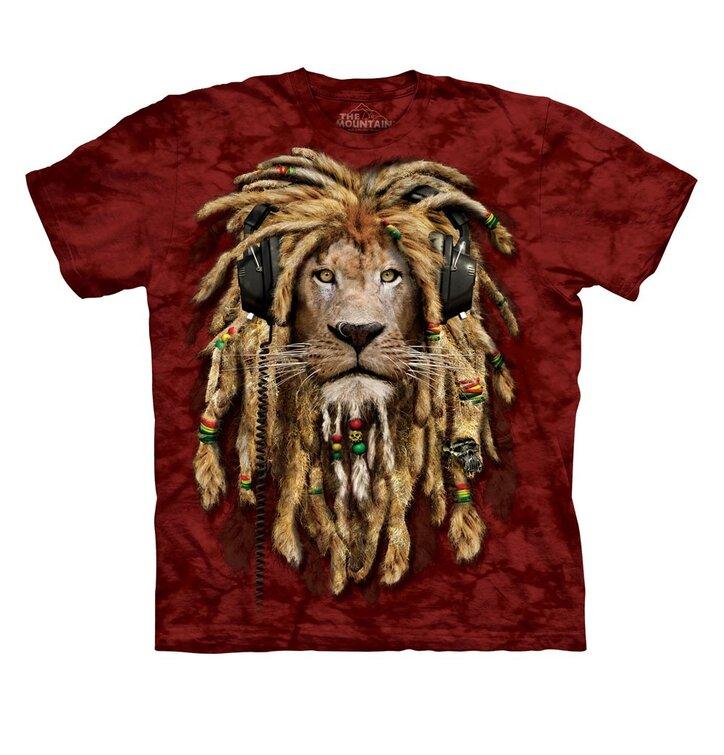 Červené tričko s dredatým levom