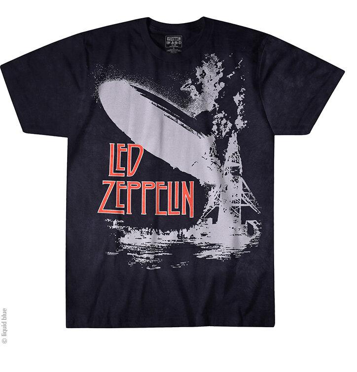 Čierne batikované hudobné tričko Led Zeppelin Exploding Zeppelin
