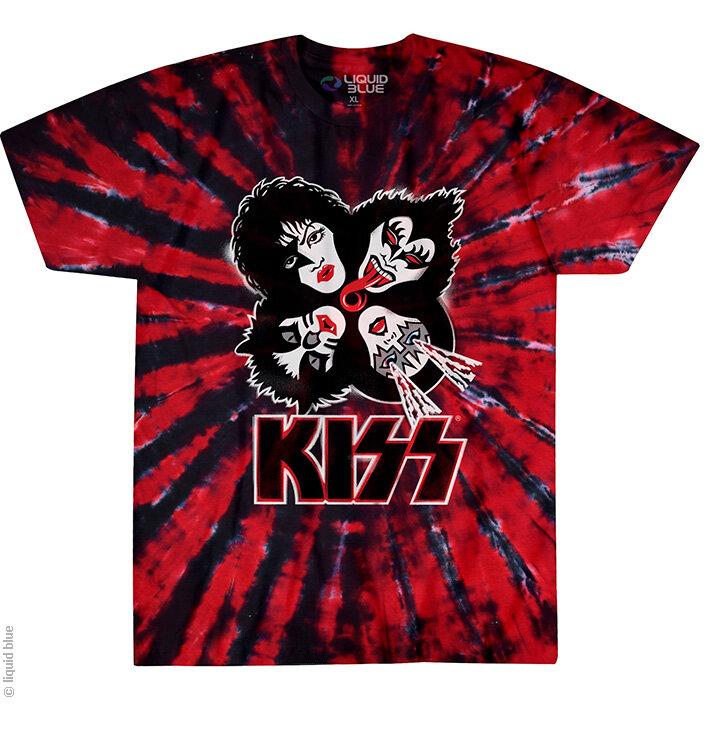 b5c09d2b5635 pro dokonalý a originální outfit Červené batikované hudební tričko Kiss  Exploze
