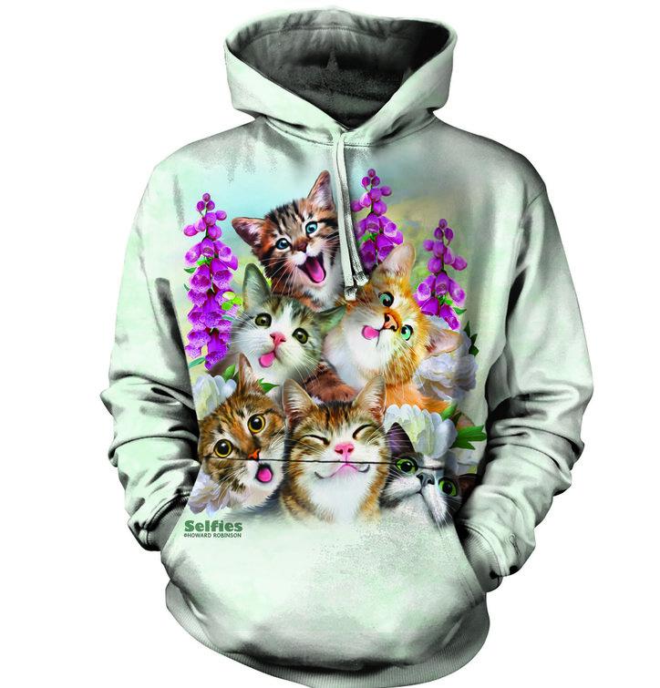 Sweatshirt mit Kapuze Närrische Katzen