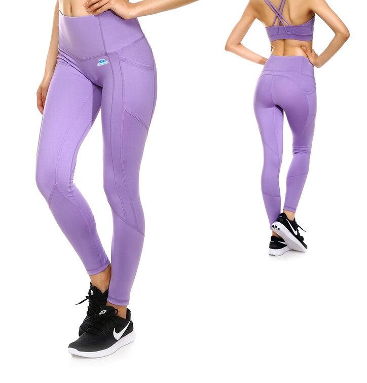 Lawendowe damskie sportowe legginsy z kieszonką
