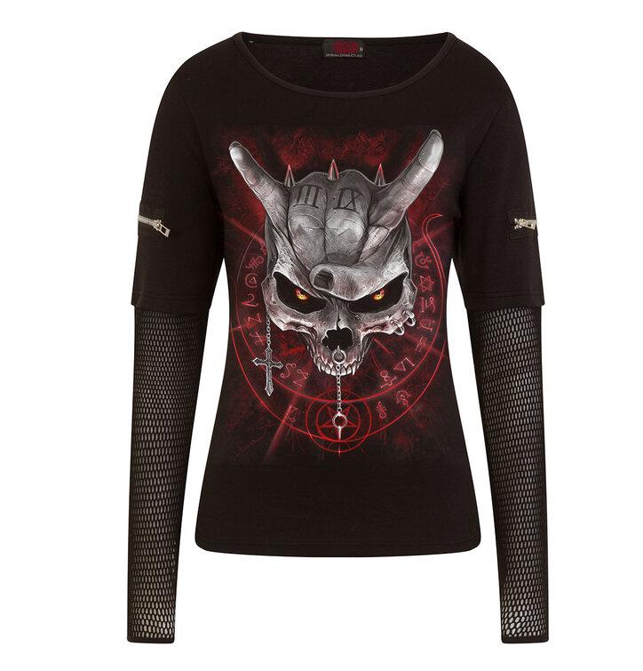Dámske tričko so sieťovanými rukávmi Lebka s rohami