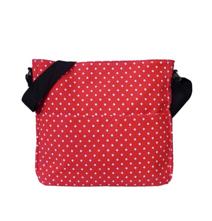 Crossbody červená taška s bodkami