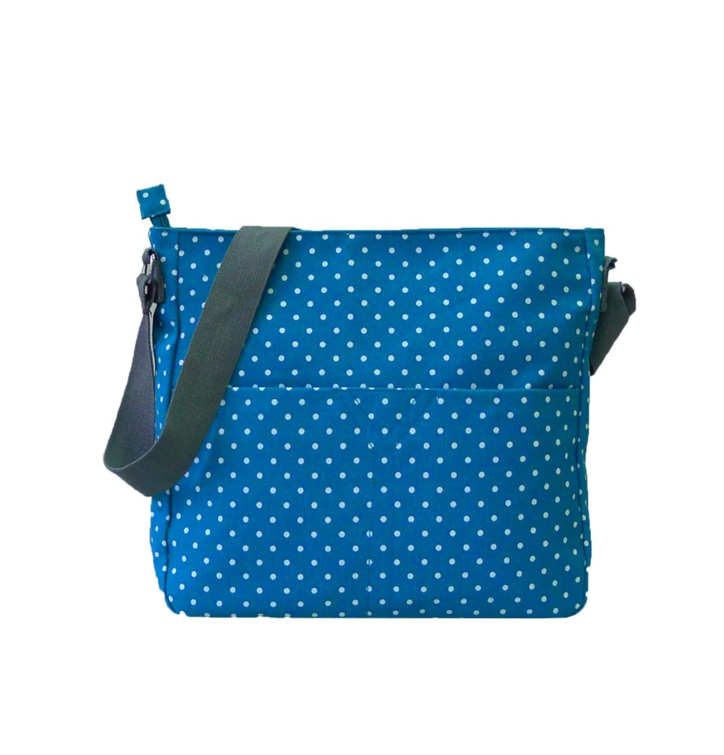 Crossbody modrá taška s bodkami