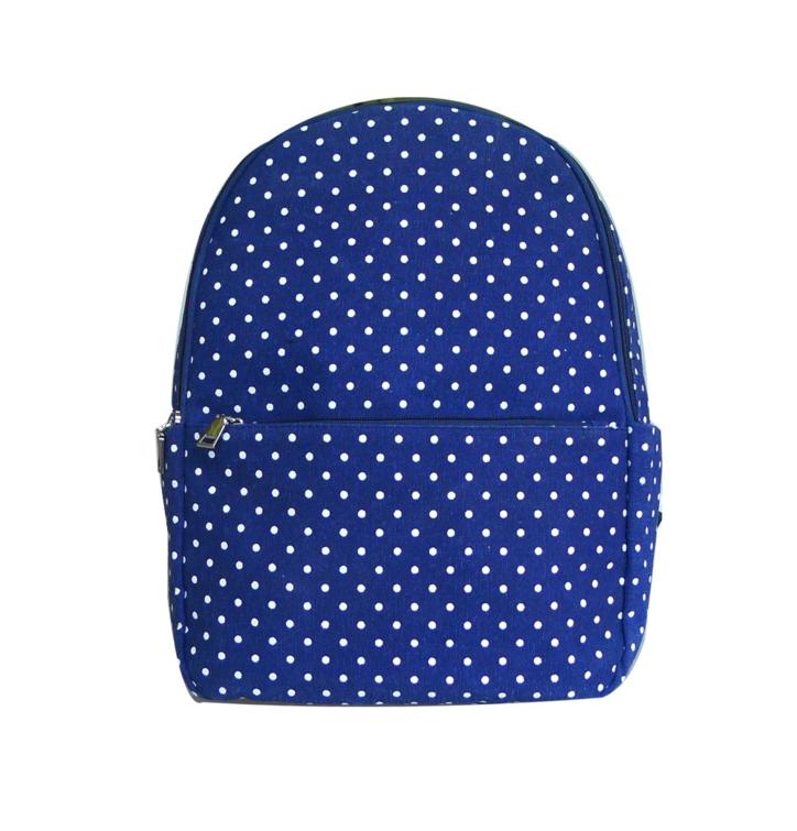 Tmavomodrý bodkovaný ruksak s jedným vreckom