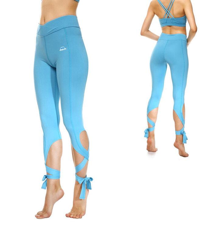 Tip na dárek Modré fitness legíny se zavazováním 46a2dd5279