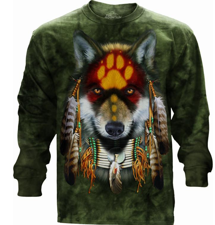 Tričko s dlhým rukávom Vlk indián