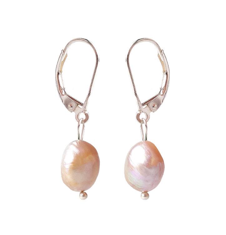 Naušnice Říční perly růžové - kámen krásy