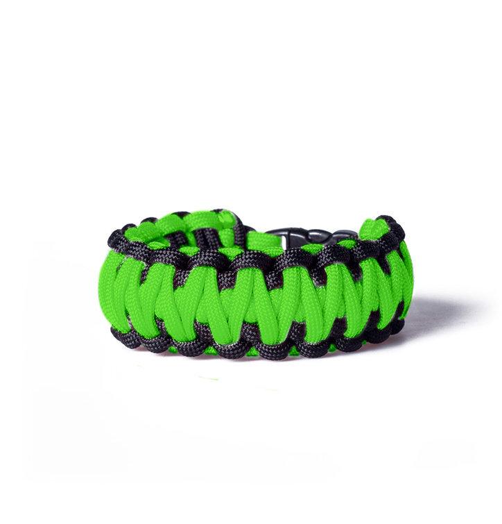 Paracord survival náramek - zeleno-černý