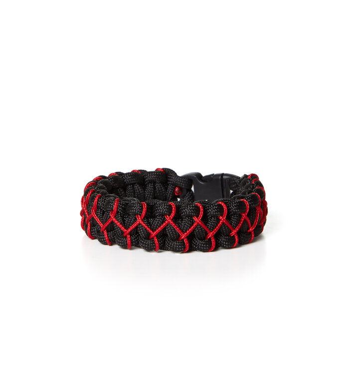 Paramicord survival náramok Kobra X čierno červený