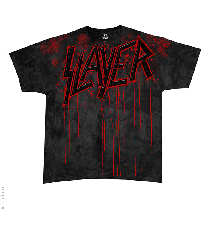 72721710089e Potešte sa týmto kúskom Dedoles Šedé batikované hudobné tričko Slayer  Raining blood