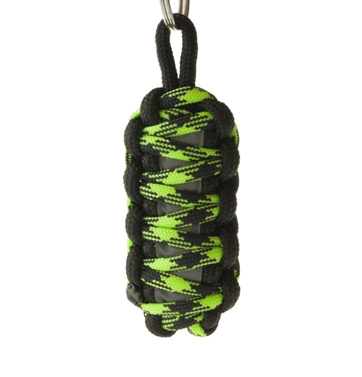 Reflexný paracord prívesok prežitia King Cobra - zeleno-čierny