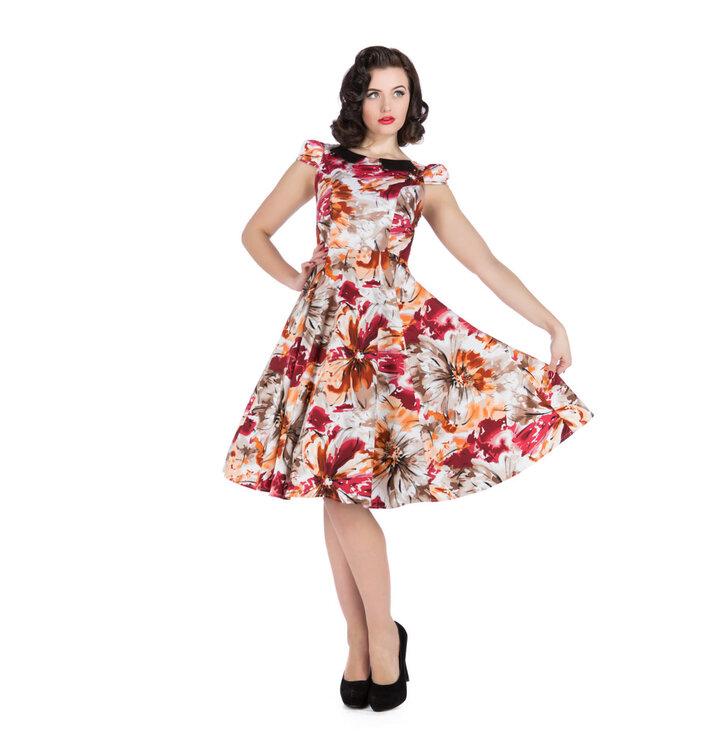 Retro pin up šaty Farebné kvety