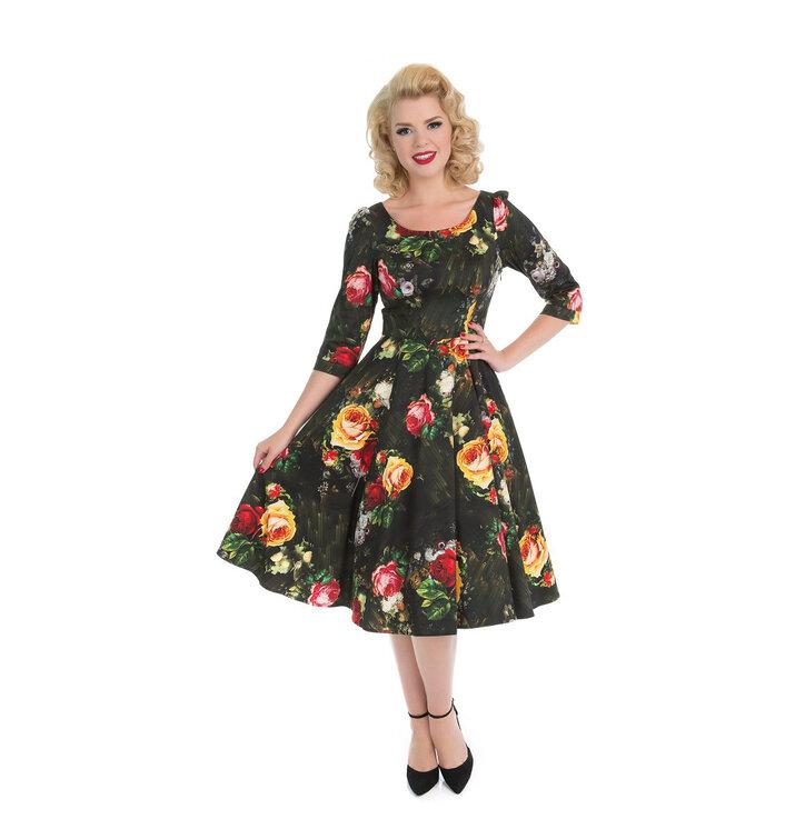 8b11d30965e Výjimečný dárek od Dedoles Retro pin up šaty s rukávy Malované růže