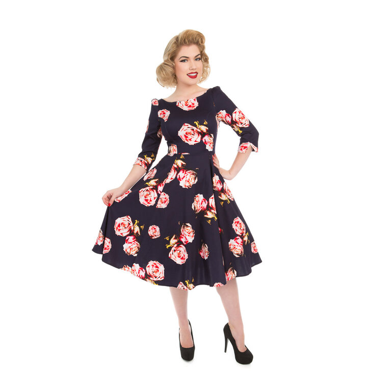 05b605efe157 Obrázok produktu Retro pin up šaty s rukávom Milovníčka ruží