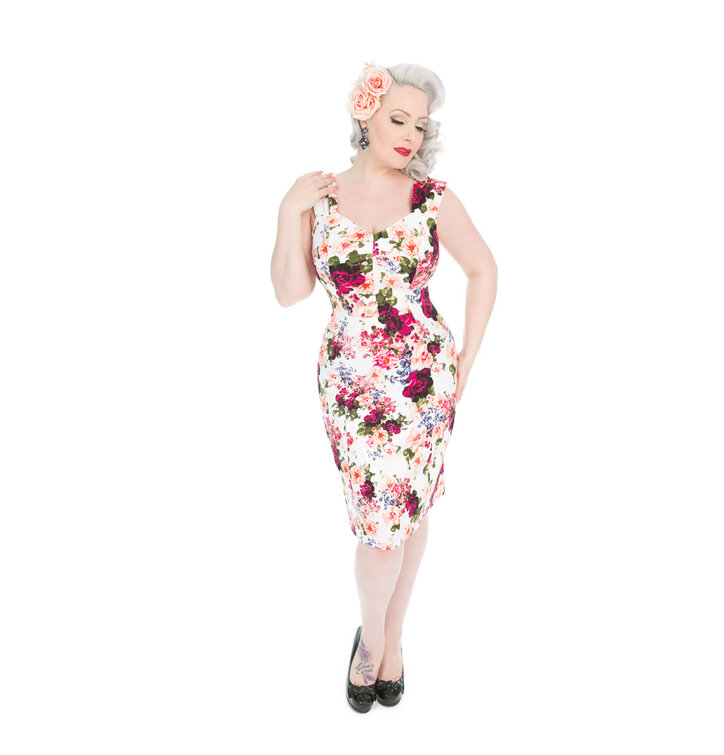 Výjimečný dárek od Dedoles Retro pouzdrové šaty Vintage růže 5fcff6f085