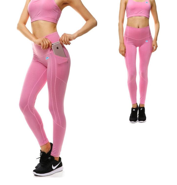 Ružové dámske športové legíny s vreckom