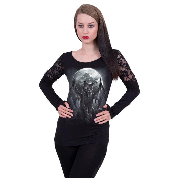 pro dokonalý a originální outfit Dámsk tričko s dlouhým rukávem a krajkou  Upíří kočka 742042cc31