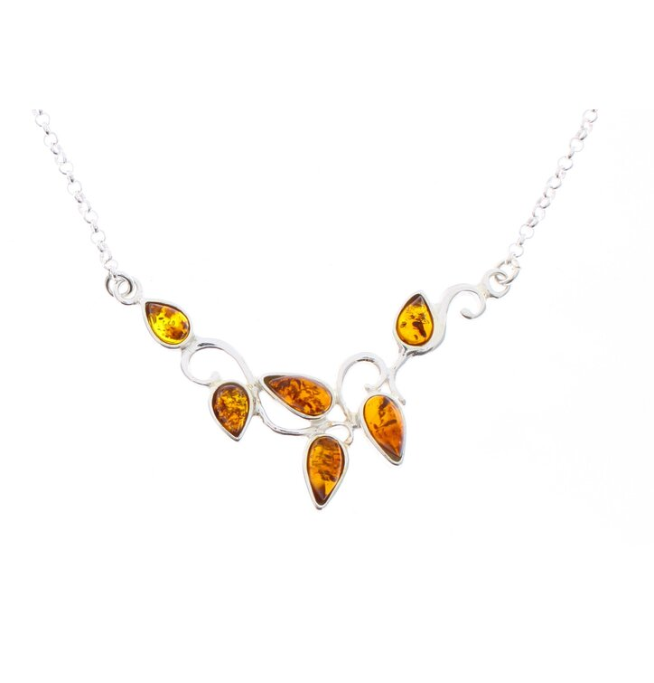 Silberne Halskette mit Bernstein Lebensbaum