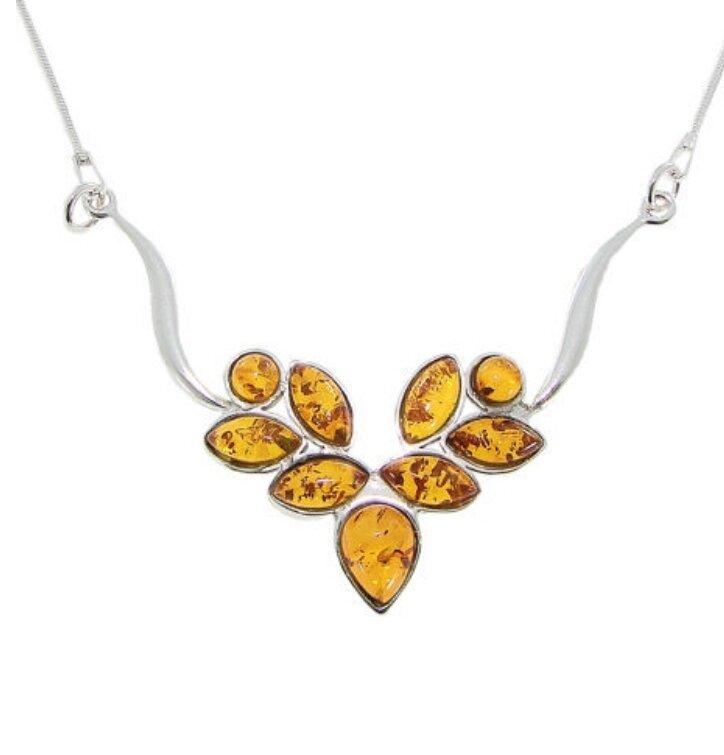 Strieborný náhrdelník s jantárom Zlaté listy