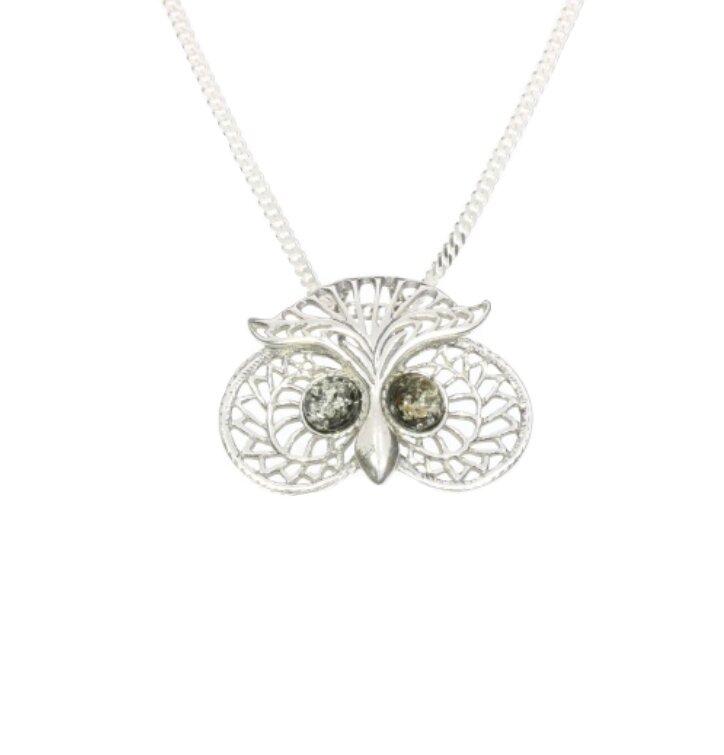 Strieborný náhrdelník so zeleným jantárom Múdra sova