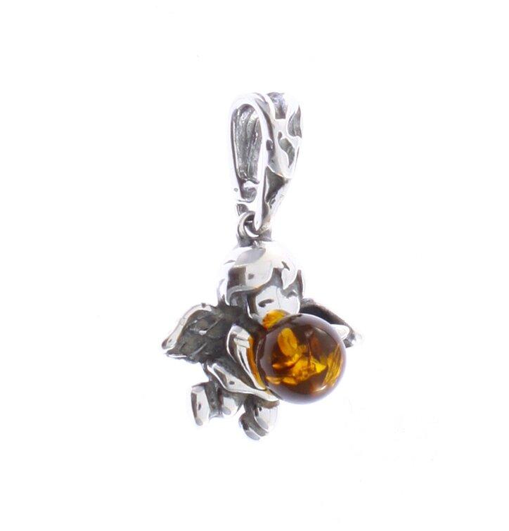 Stříbrný přívěsek s jantarem Andělíček