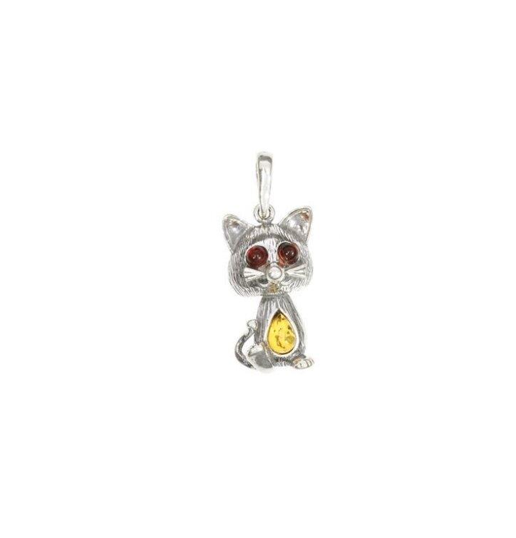 f63102241 Strieborný prívesok s jantárom Mačacie oči | Dedoles