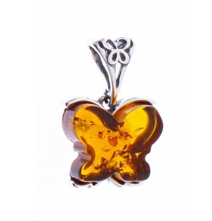 Strieborný prívesok s jantárom Motýľ