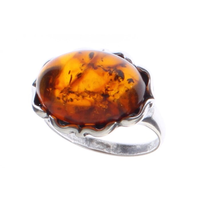 Strieborný prsteň s jantárom Dračie oko