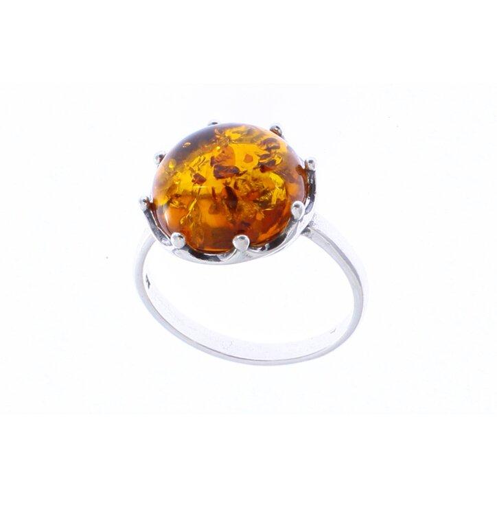 Strieborný prsteň s jantárom Koruna