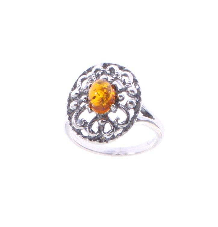 Strieborný prsteň s jantárom Kvet