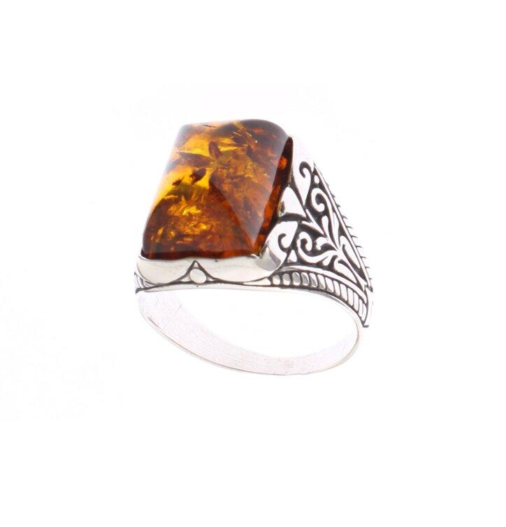 Strieborný prsteň s jantárom Zlatá tehlička