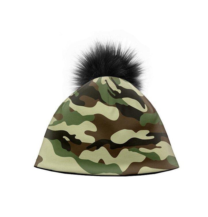 028784723 Zimná čiapka s brmbolcom Maskáč khaki | Dedoles