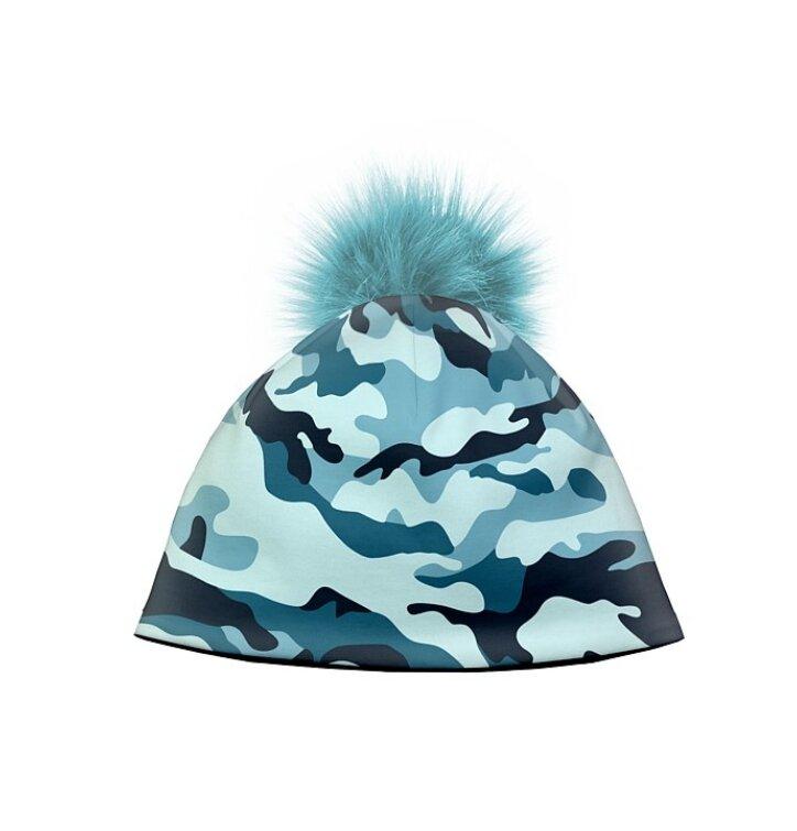adfd2e7dd Zimná čiapka s brmbolcom Maskáč modrý | Dedoles