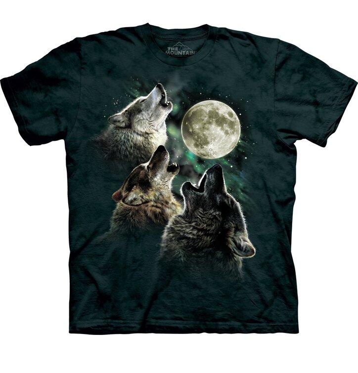 Tričko Traja vlci vyjúci na mesiac