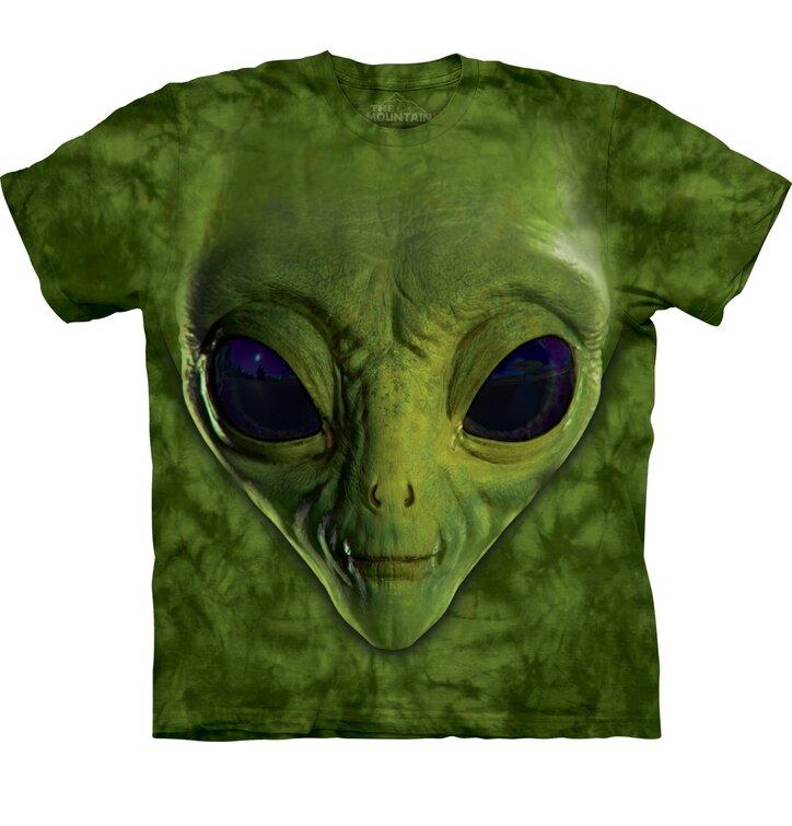 Kinder T-Shirt Grüner Alien Gesicht