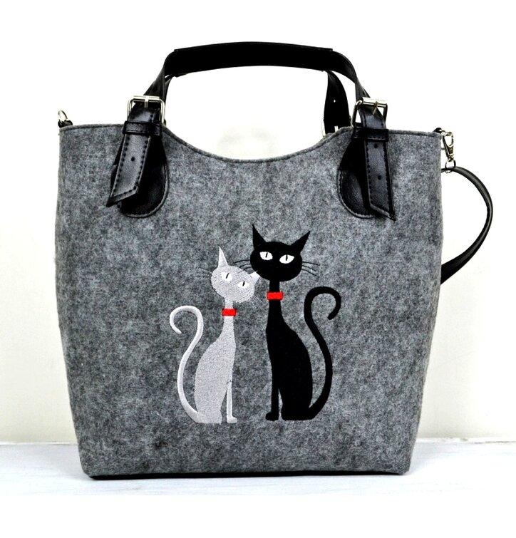 Kabelka Excent - Čierna a biela mačka