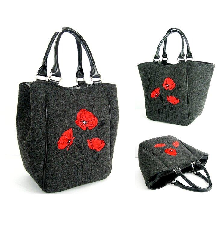 Piknik Antracit Handbag - Red Poppies