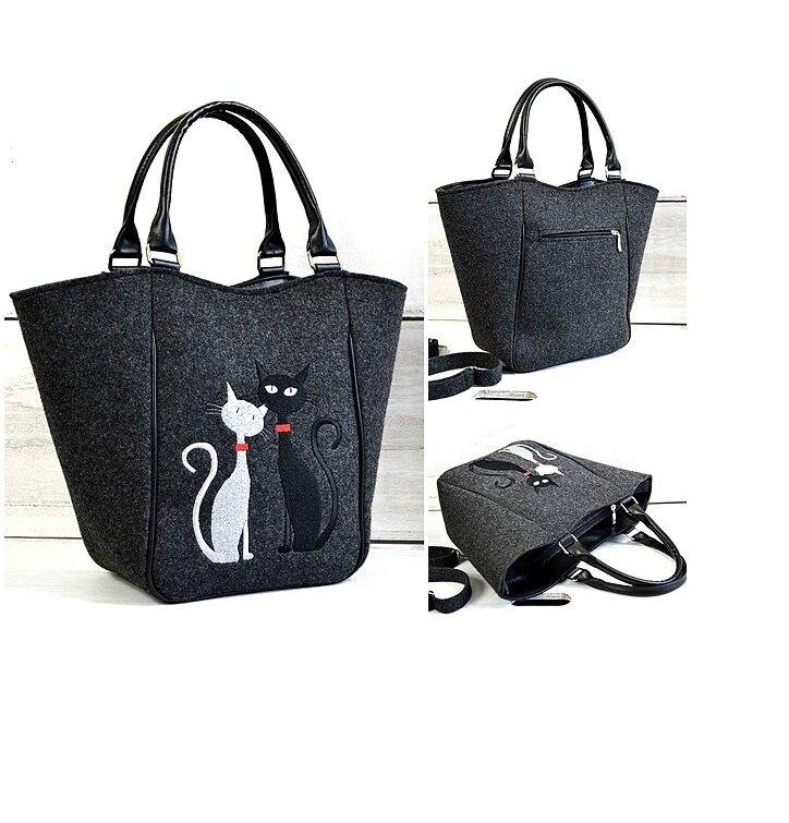 Piknik Antracit Handbag - Black and White Cat