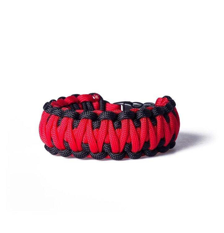 Survival náramok - červeno čierny