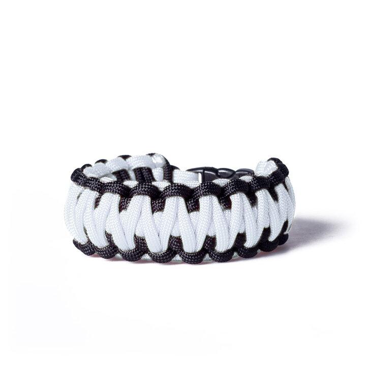 Paracord survival bracelet-white-black