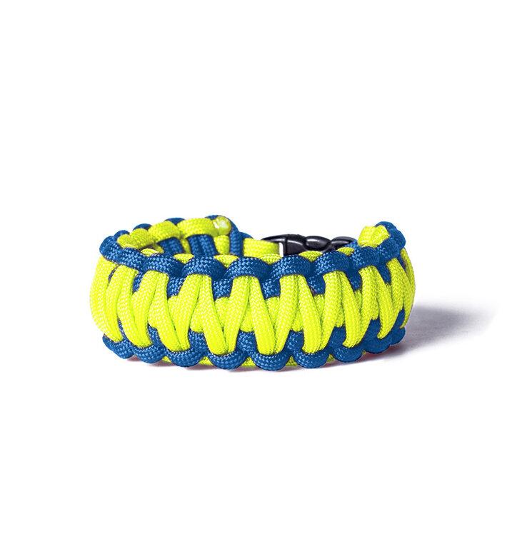 Paracord survival náramok - žlto-modrý s nastavitelným zapínaním