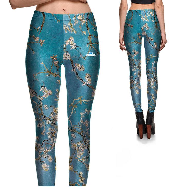 Ladies' Elastic Leggings Almond Blossoms