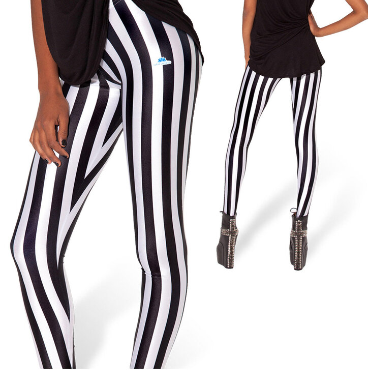 Damen Leggings Gestreift Elastisch