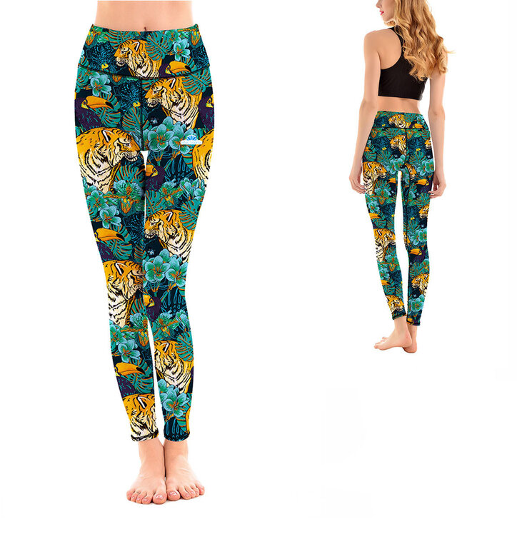 Ladies' Sport Elastic Leggings Tiger in Jungle