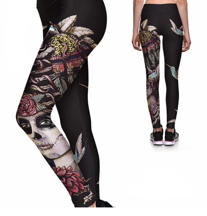Ladies' Sport Elastic Leggings Female Skull